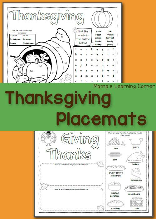 photo relating to Thanksgiving Placemats Printable known as Printable Thanksgiving Placemats - Mamas Mastering Corner
