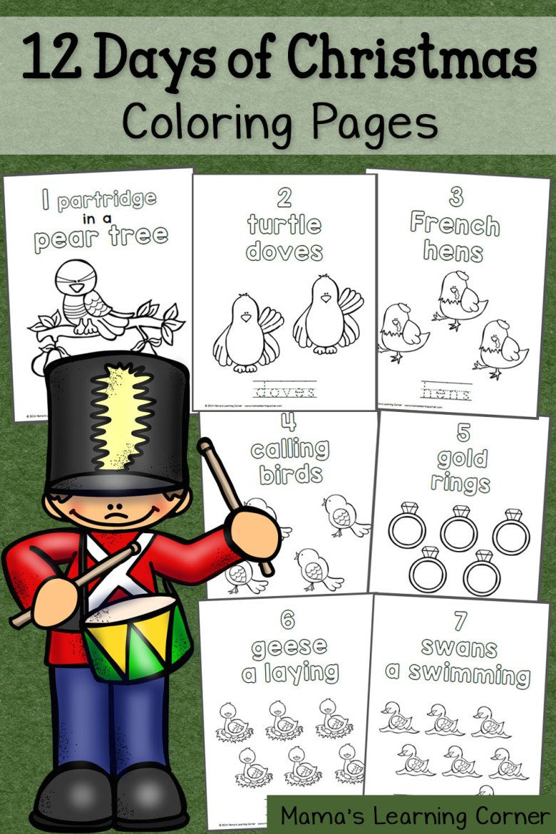 12 days of christmas coloring pages - mamas learning corner