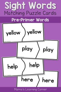Practice Basic Sight Words for Kindergarten with Puzzle Cards