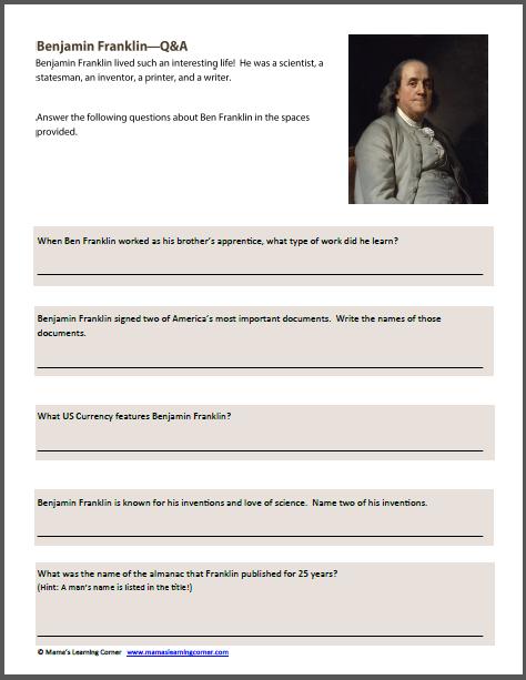 Benjamin Franklin Worksheets