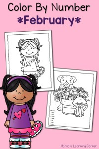 Color By Number Worksheets: February!