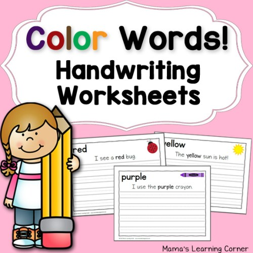 Handwriting Worksheets for Kids: Color Words