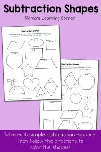 Free Subtraction Worksheets: Subtraction Shapes!