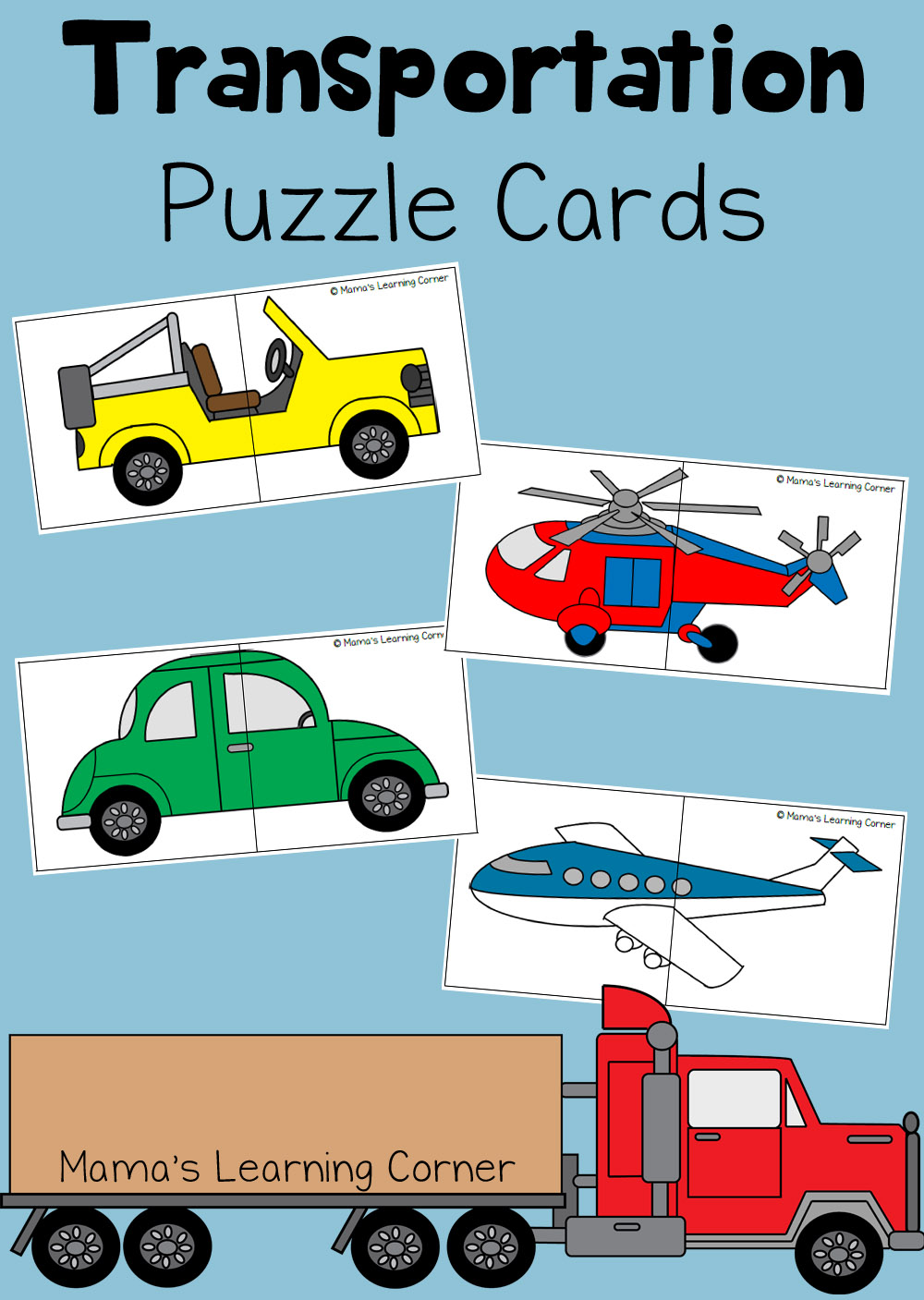 Transportation Puzzle Cards For Preschoolers Mamas