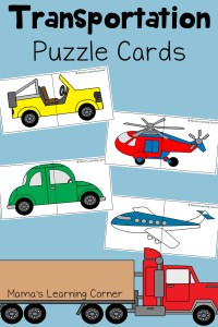 Transportation Puzzle Cards for Preschoolers