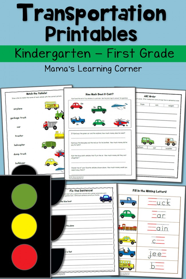 Transportation Worksheets for Kindergarten and First Grade