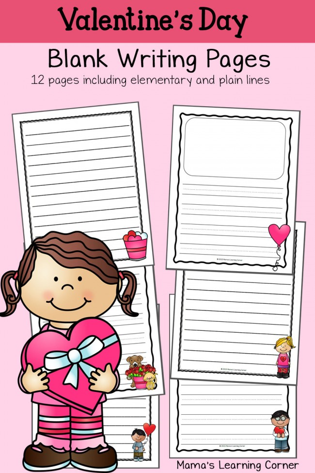 Valentines Day Blank Writing Pages