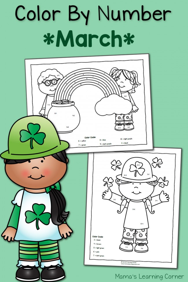 Color By Number St. Patrick's Day Worksheets