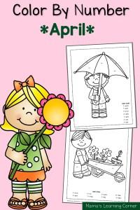 Color By Number Worksheets: Spring!