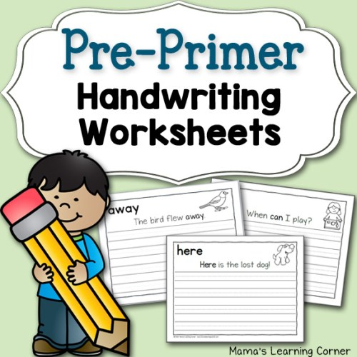 Handwriting Worksheets for Kids: Pre Primer Dolch Words