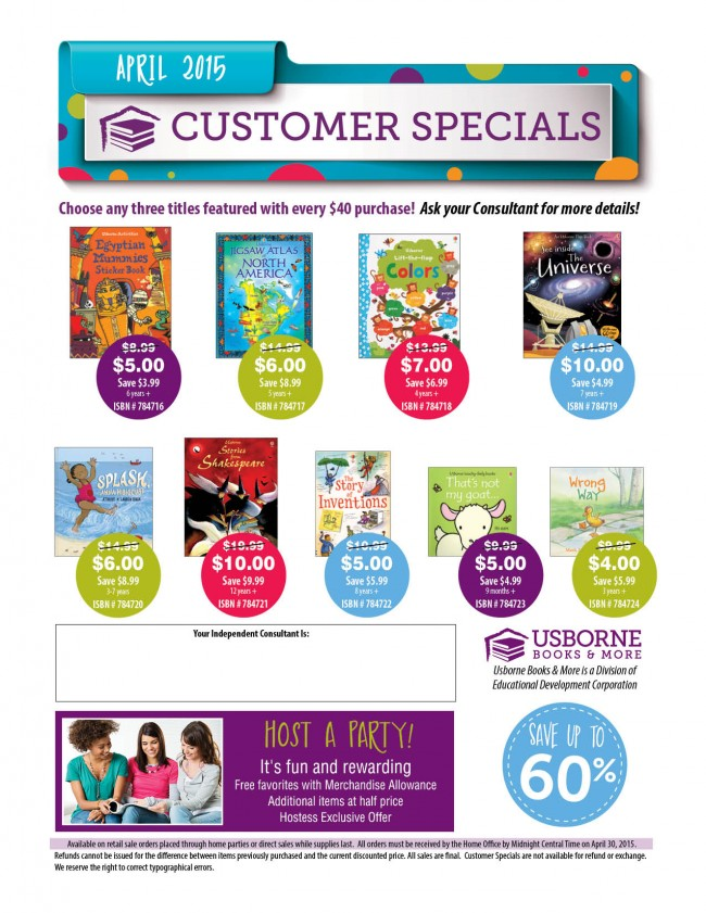 Usborne April 2015 Customer Specials - 60% Off!