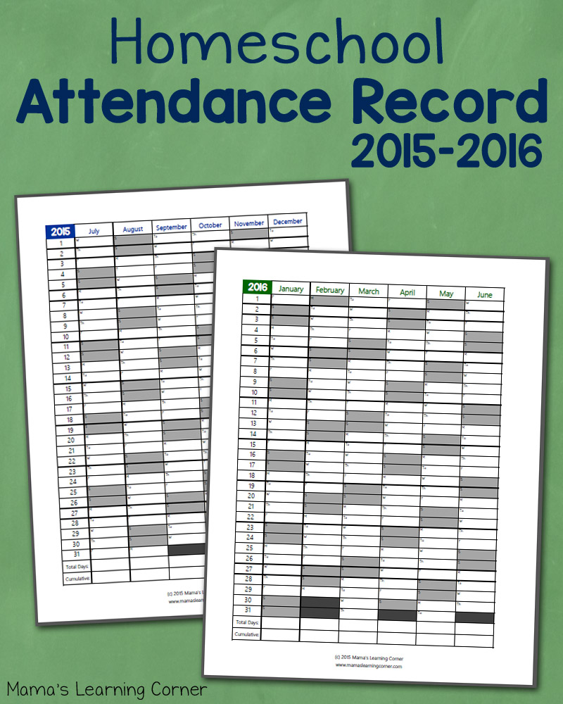 Homeschool Attendance Record for 2015-2016
