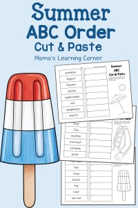 Summer Cut and Paste ABC Order Worksheets