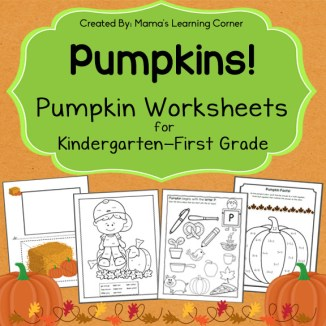 Pumpkin Worksheets for Kindergarten and First Grade