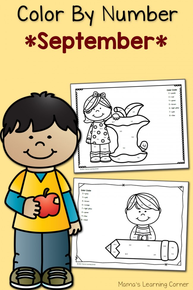 Free Color By Number Worksheets: September