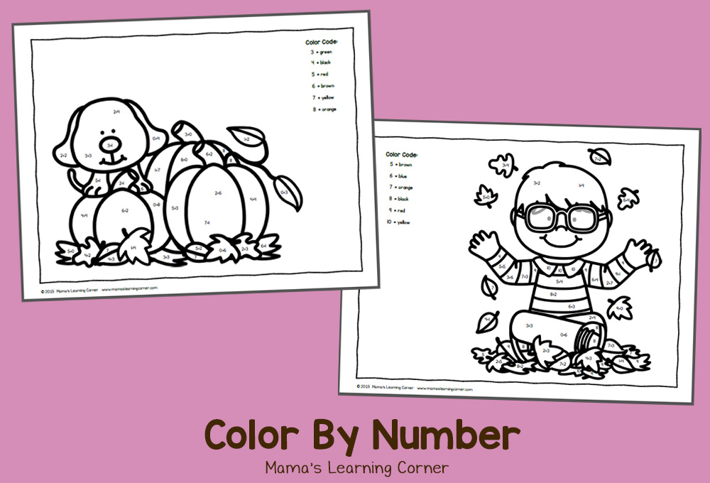 Free Color By Number Worksheets: October!