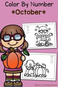 Color By Number Worksheets: October!