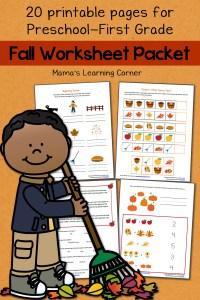 Fall Worksheet Packet for Preschool-First Grade