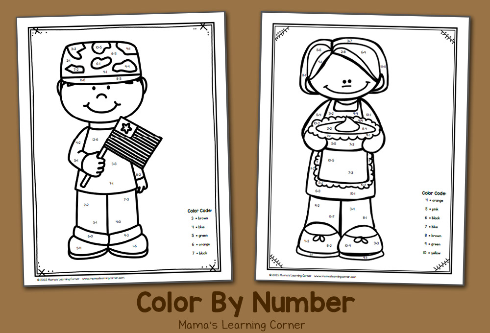Color By Number Worksheet for November Thanksgiving and Veterans Day