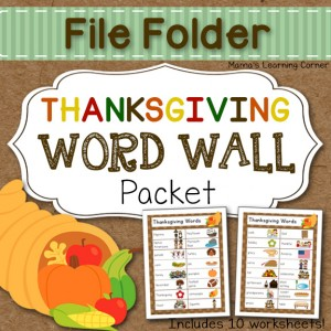 Thanksgiving File Folder Word Wall with 10 printable worksheets