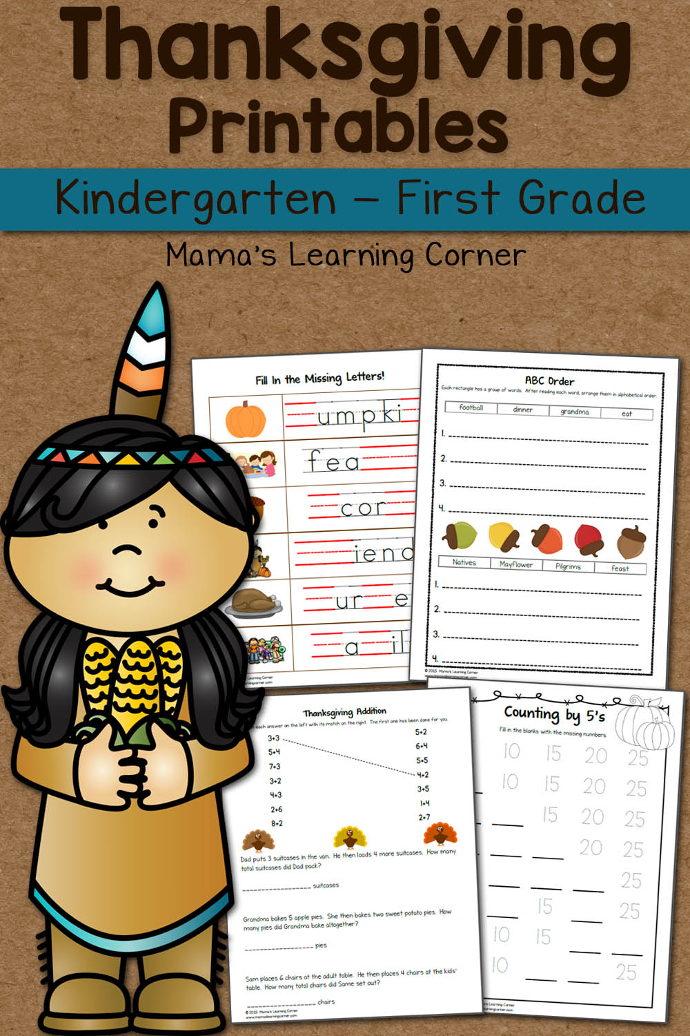 Thanksgiving Worksheet Packet For Kindergarten And First