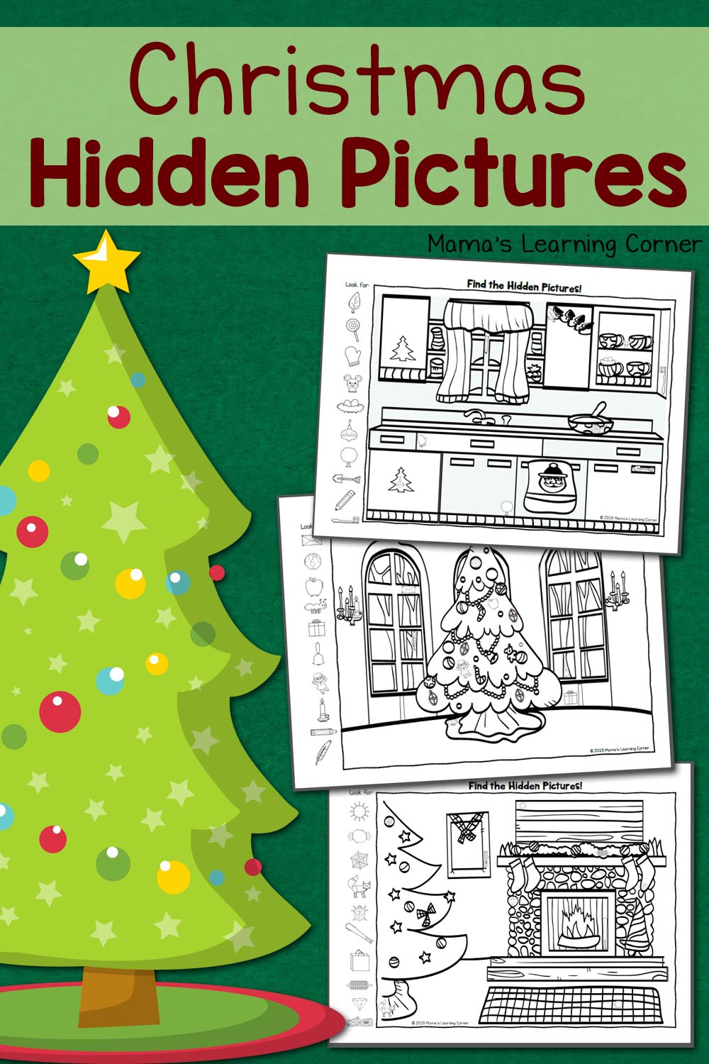 This is an image of Nerdy Christmas Hidden Picture Printable