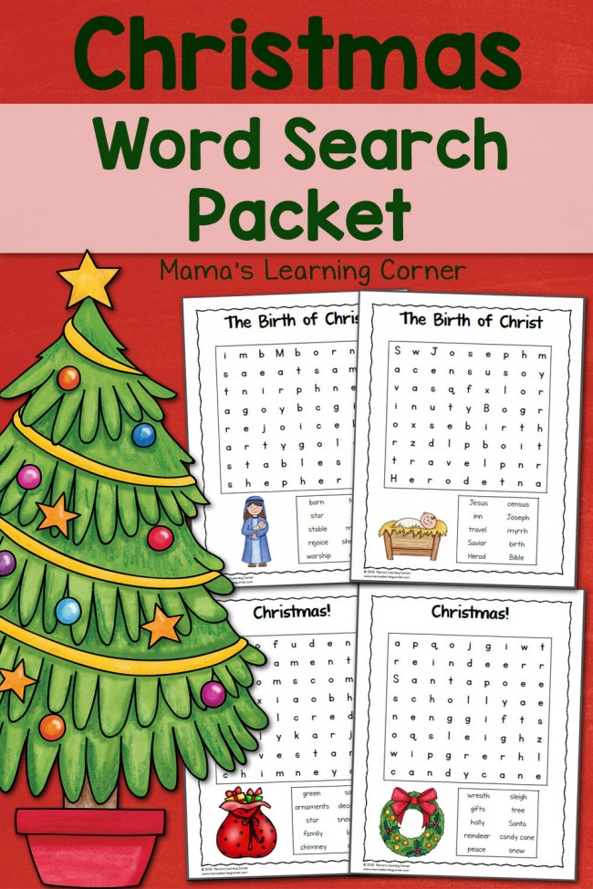 Christmas Word Search Packet - contains 6 word searches for 1st-3rd graders