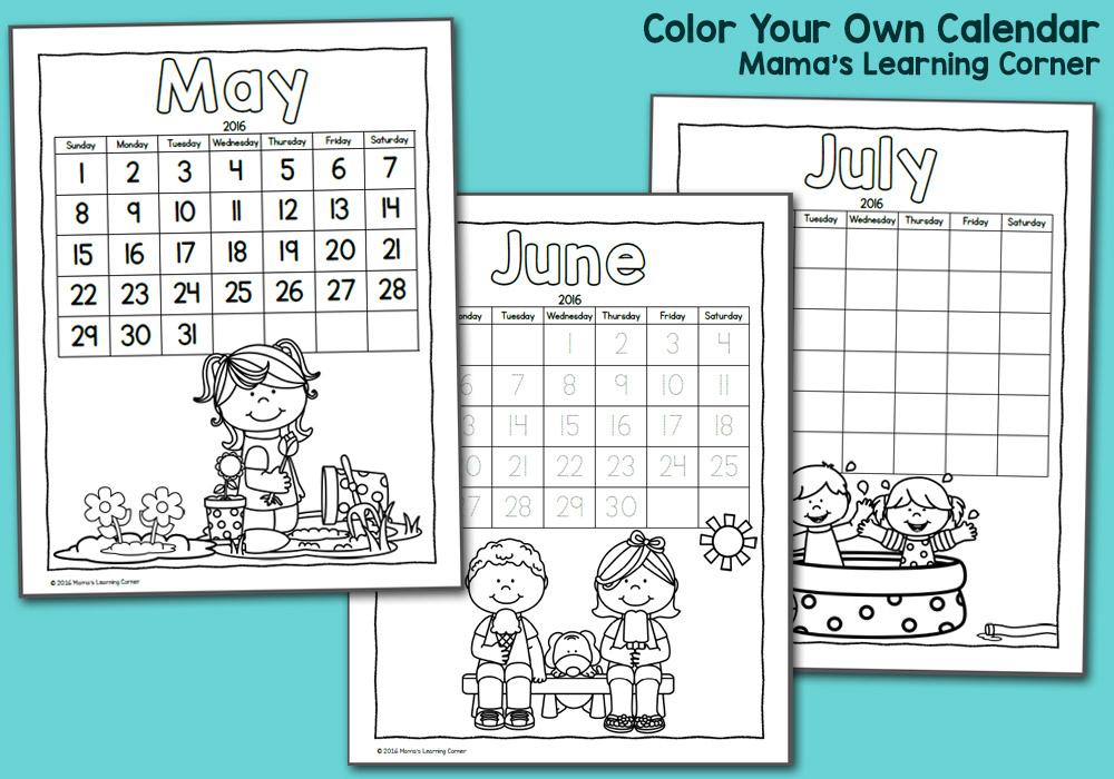 Color Your Own Calendar 2016 - printable calendar for kids