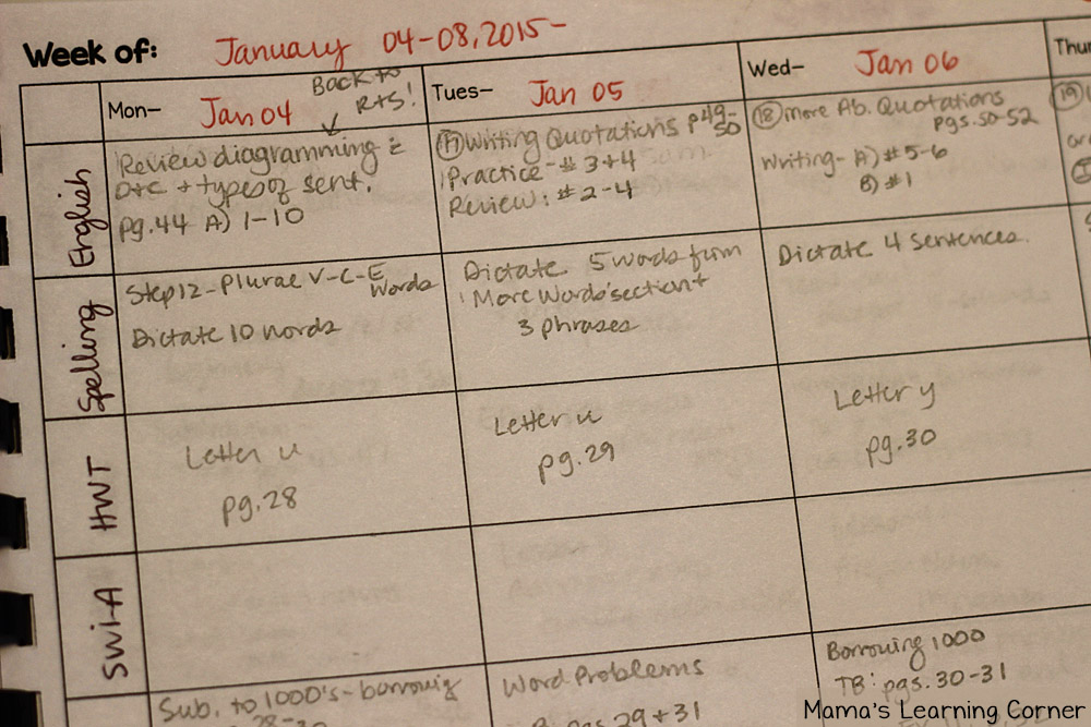 Helpful Habits: Planning School