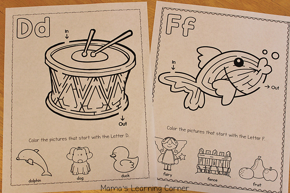 Alphabet Maze - Letters D and F