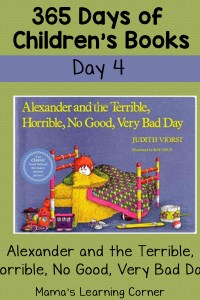 Alexander and the Terrible, Horrible, No Good, Very Bad Day: Day 4 of Children's Books