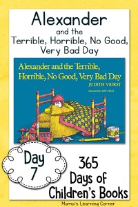 Day 7 of Children's Books – Alexander and the Terrible, Horrible, No Good, Very Bad Day