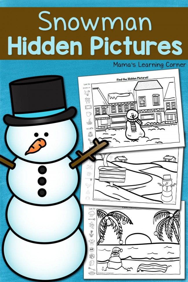 Free Snowman Hidden Pictures Worksheets