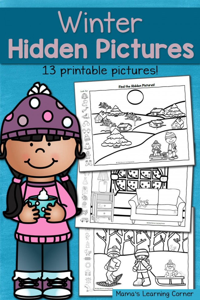 Find It! Winter Hidden Picture Worksheets - 13-page printable packet