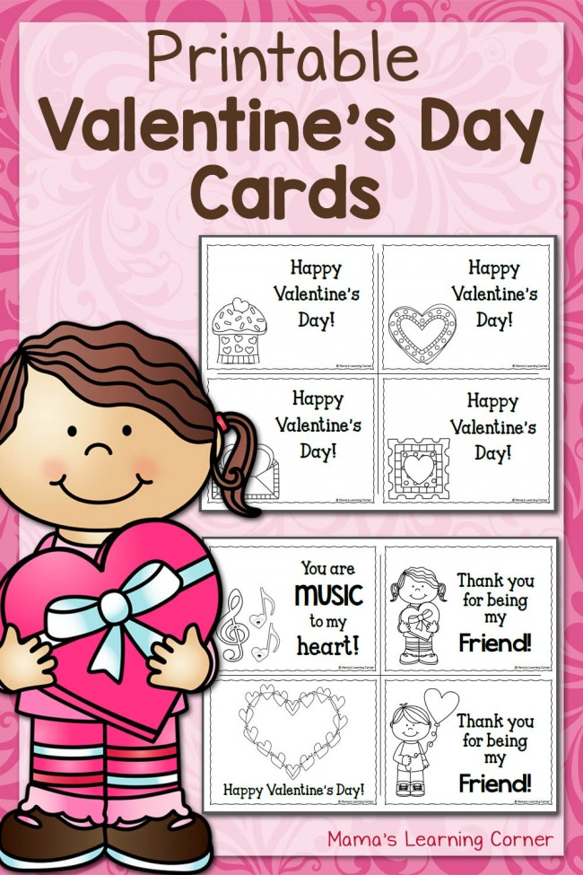Printable Valentines Day Cards - Color Your Own!
