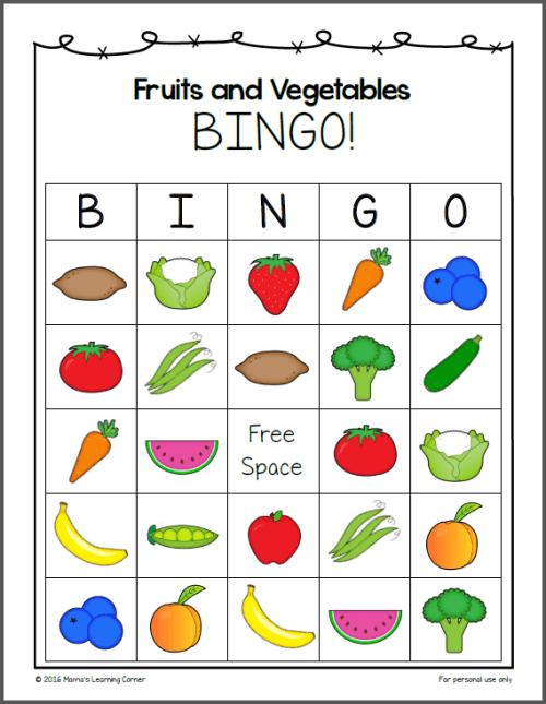 Fruits and Vegetables Bingo