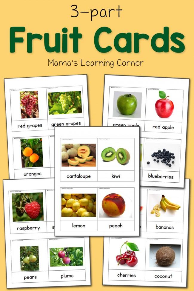 3-Part Cards: Fruit Cards