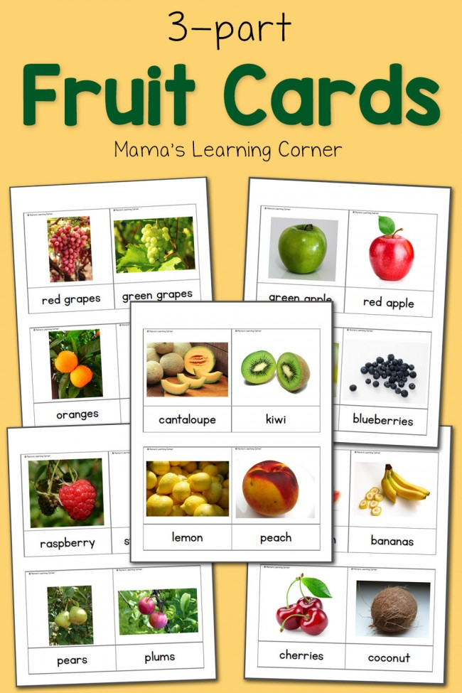 3-Part Cards: Fruit Cards