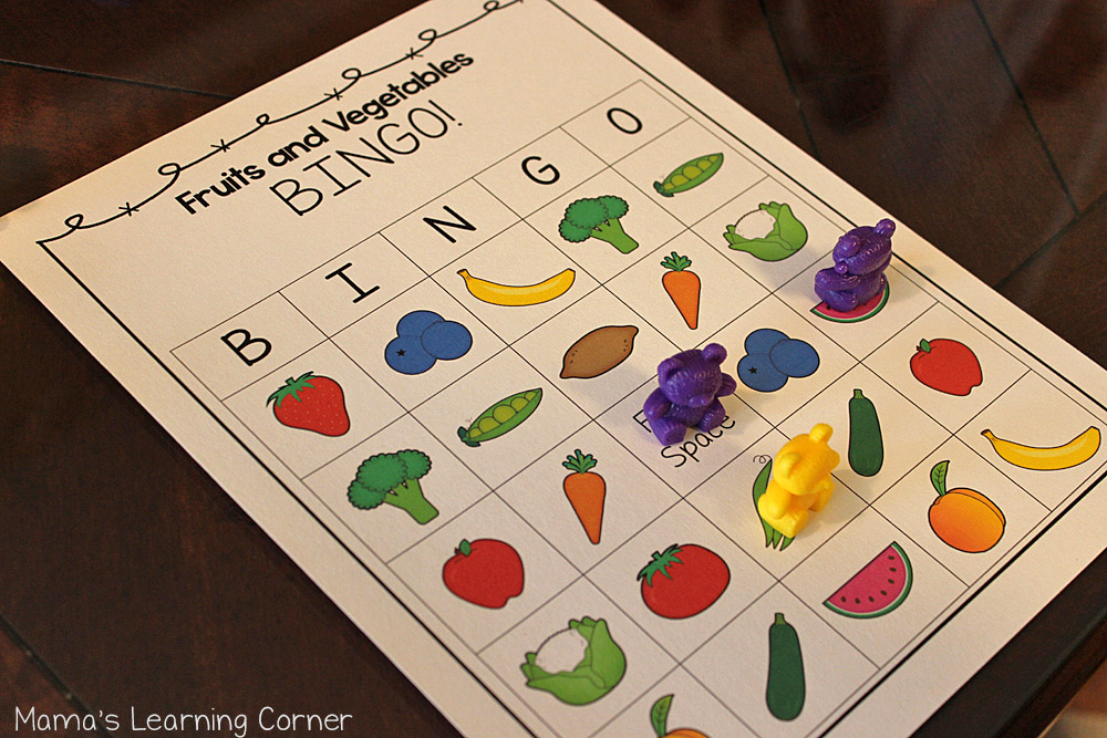 Fruits and Vegetables Bingo Game