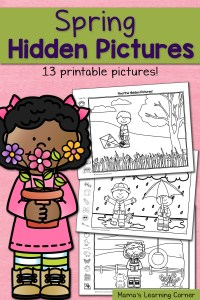 Find It! Spring Hidden Picture Worksheets