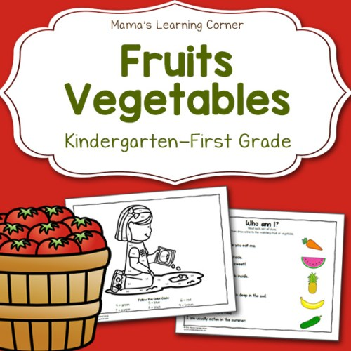 Fruit and Vegetable Worksheets for Kindergarten and 1st Grade