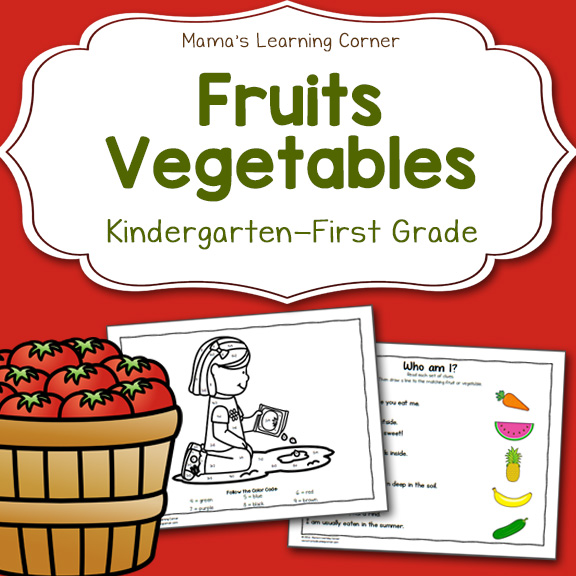 Fruit and Vegetable Worksheets for Kindergarten and First ...