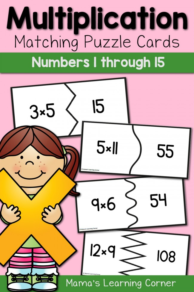 Multiplication Puzzle Cards - products for numbers 1 through 15