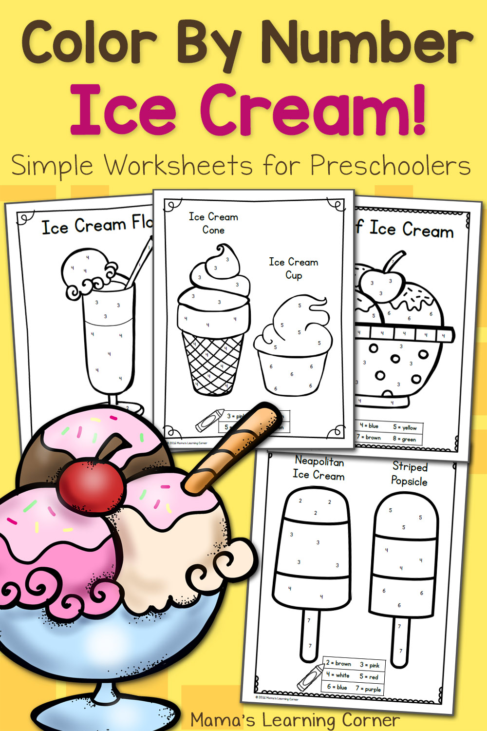 Color By Number Worksheets for Preschool: Ice Cream ...