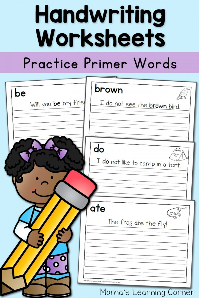 Handwriting Worksheets Primer Sentences - with 4 freebies to download!