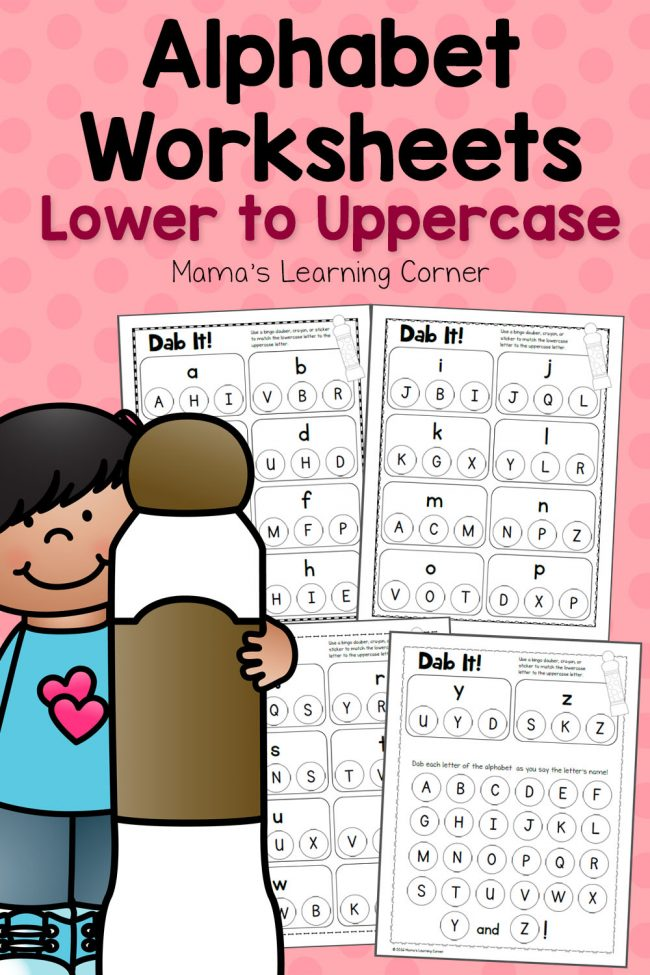 Dab It! Alphabet Worksheets: Matching Lower and Uppercase Letters