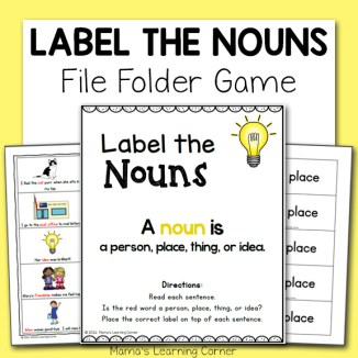 Label the Nouns File Folder Game
