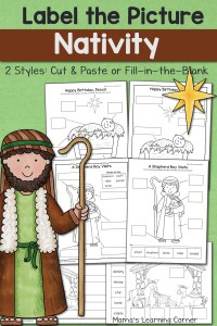 Nativity Label the Picture Worksheets
