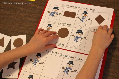 Winter File Folder Games Snowman Shapes