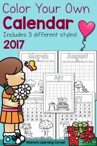 Color Your Own Calendar 2017